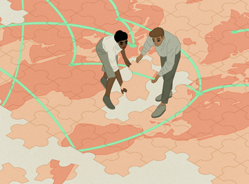 Illustration of two people putting together an over-sized puzzle of a map of the earth.